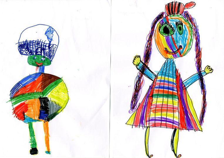 De Kleurenpiet van Job en de Regenboogpiet van Lisa Beeld TR Beeld