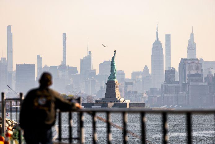 Een man kijkt naar het Vrijheidsbeeld.