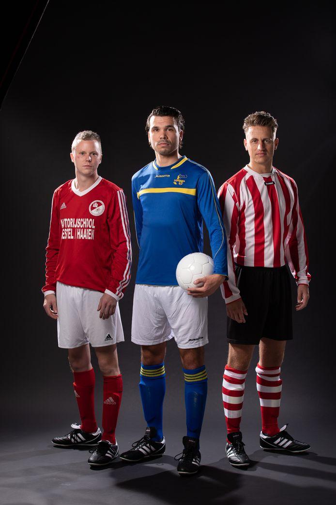 De clubtenues van RKSV Oisterwijk, RKSV Taxandria en SV Nevelo (van links naar rechts).