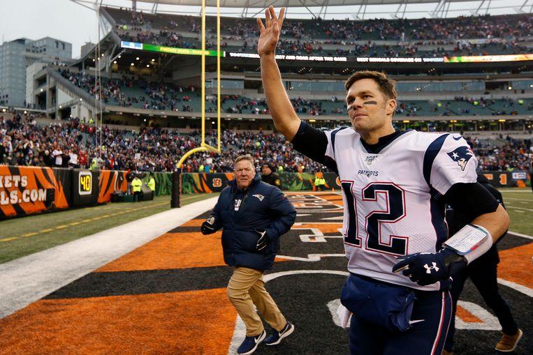 Tom Brady in het shirt van de New England Patriots. Na 20 jaar trouwe dienst zal hij dat inruilen voor dat van de Tampa Bay Buccaneers.