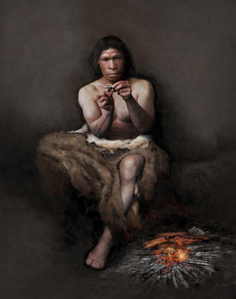 Neanderthaler met vuurstenen werktuig. Deze vroege mensensoort trok rond 400.000 jaar geleden het gebied binnen. Beeld Tom Björklund/Moesgaard Museum, Denemarken