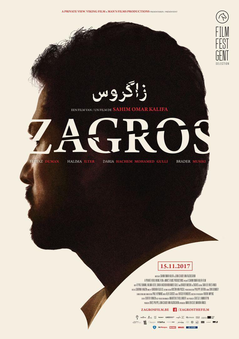 De poster van 'Zagros': de geplande opnames in Turks Koerdistan moesten omwille van politieke onrust verplaatst worden naar Kreta. Beeld Cinéart