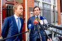 Bestuurslid Lennart van der Linden en Thierry Baudet staan de pers te woord.
