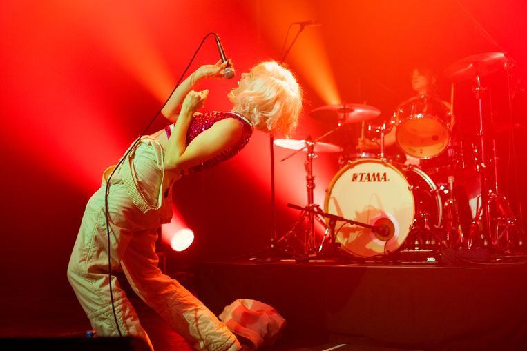 Katie Alice Greer en Daniele Daniele (drums) van Priests op Sonic City: punk kan politiek én fun tegelijk zijn Beeld Alex Vanhee