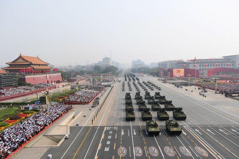 Het Tiananmenplein in Peking op de zeventigste verjaardag van de Volksrepubliek. Beeld EPA