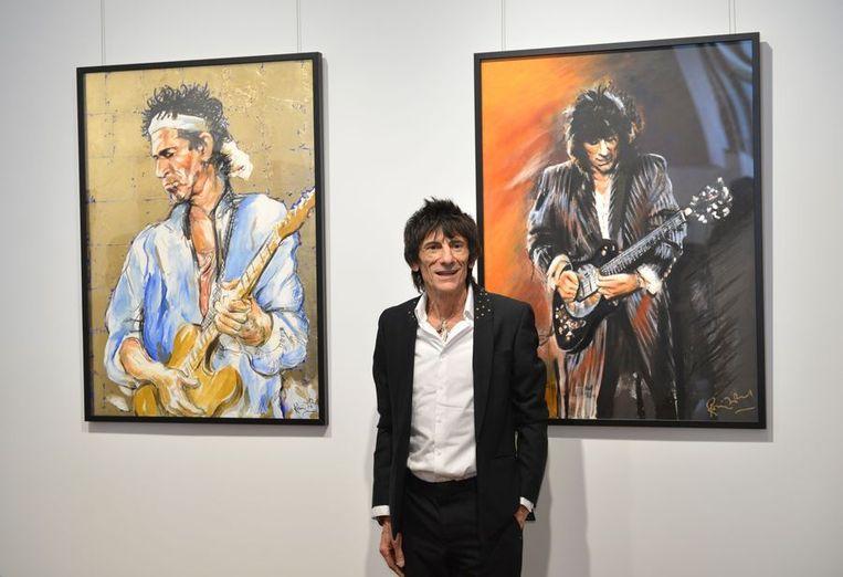 Ronnie Wood maandag bij de opening van zijn tentoonstelling in New York. Beeld afp