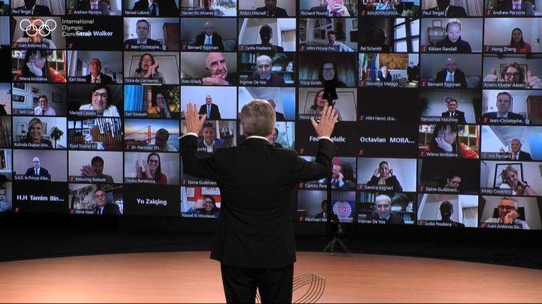 De herverkiezing van Thomas Bach als IOC-voorzitter. Beeld AFP