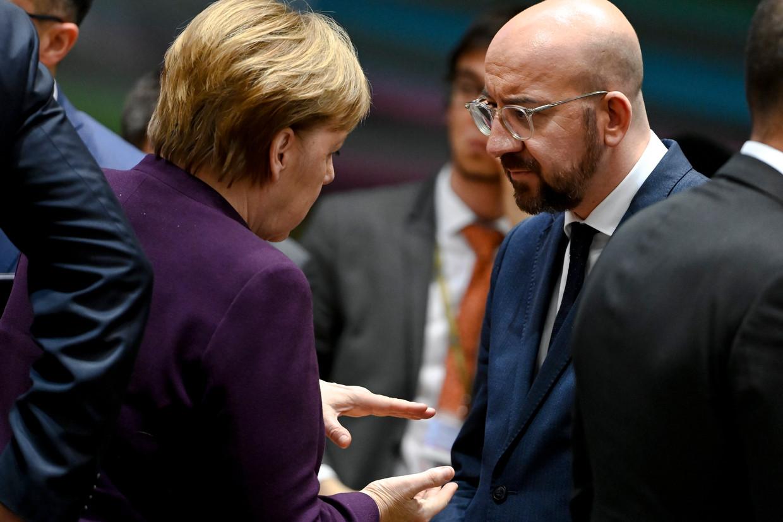 Duits bondskanselier Angela Merkel en Europees Raadsvoorzitter Charles Michel.