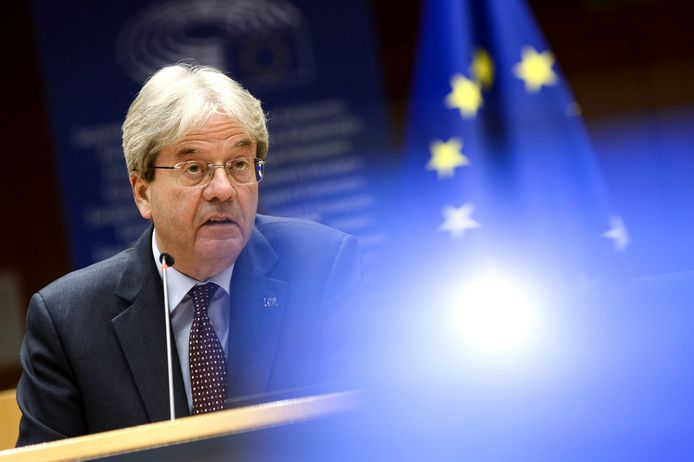 European Commissioner for Economy Paolo Gentiloni addresses the plenary chamber during a a discussion on digital tax at the European Parliament in Brussels, Wednesday, April 28, 2021. (Johanna Geron, Pool via AP)