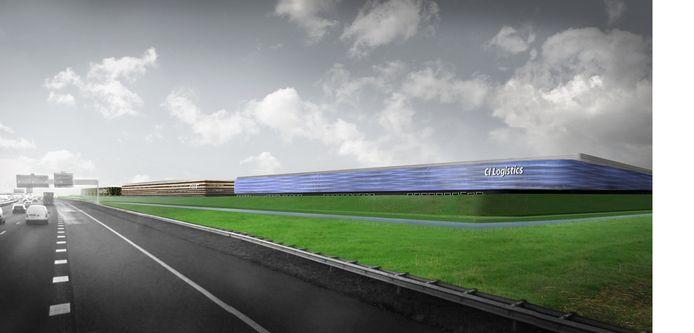 Een artist's impression van het  Logistiek Park Moerdijk vanaf de A16.