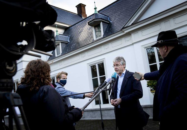 Demissionair minister van onderwijs Arie Slob bij het Catshuis. Beeld ANP
