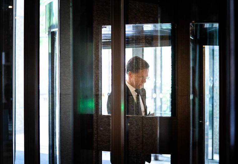 Premier Mark Rutte voorafgaand aan het Tweede Kamerdebat over de ontwikkelingen rondom het coronavirus vorige week.  Beeld ANP