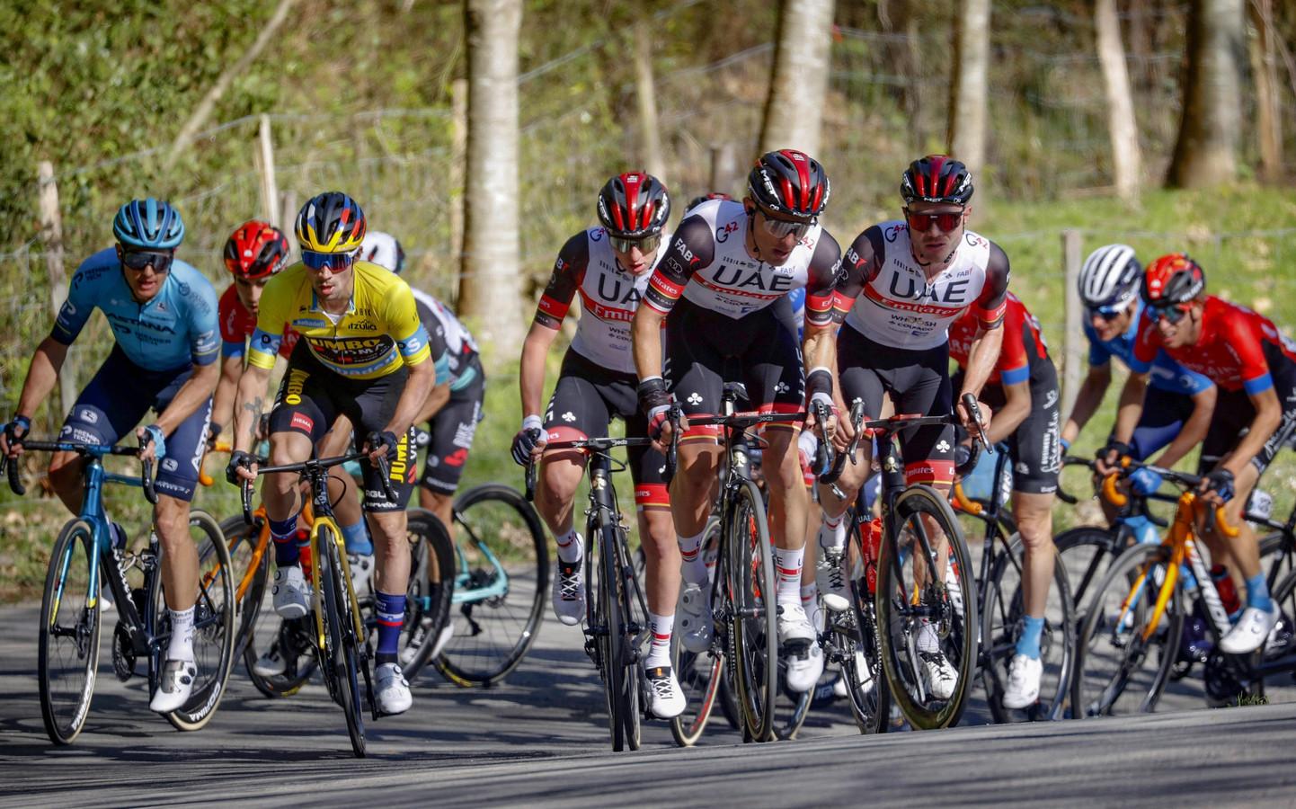 Primoz Roglic aan het werk in de Ronde van het Baskenland.