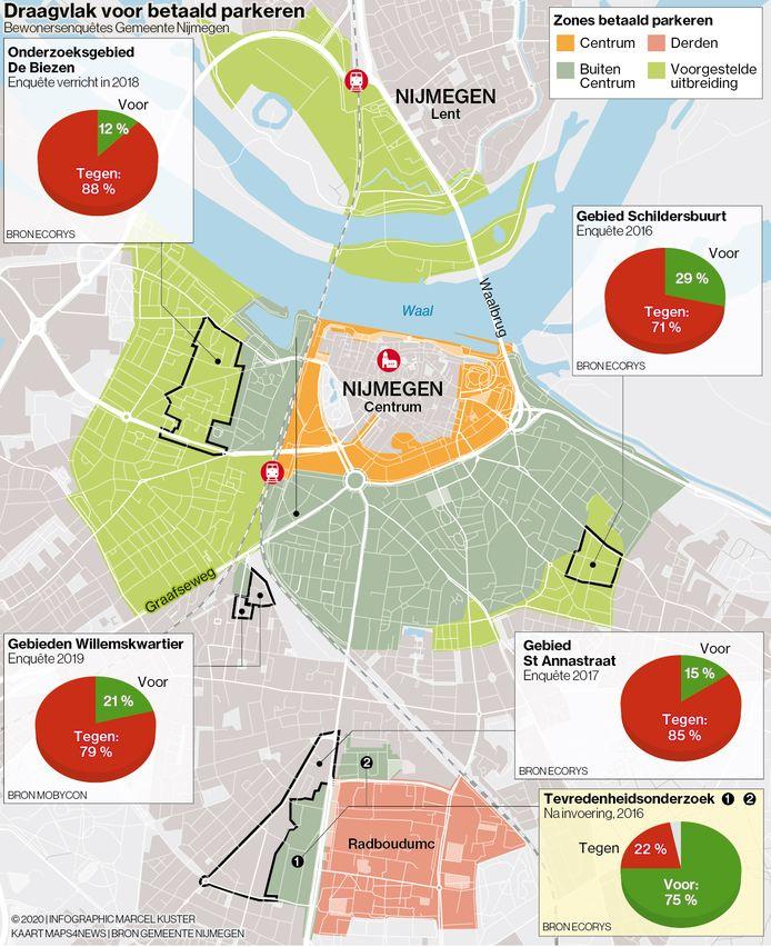 De lichtgroene gebieden geven aan welke gebieden volgens wethouder Harriët Tiemens betaald-parkeer-zones moeten worden. De inzetjes tonen hoe bewoners van diverse wijken eerder aankeken tegen invoering van betaald parkeren.
