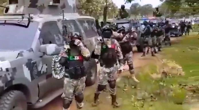 Beeld uit de video van het Jaliscokartel.