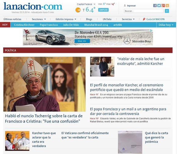 De kwestie van de brief veroorzaakt grote ophef in het land, getuige de voorpagina van de nationale krant La Nacion.