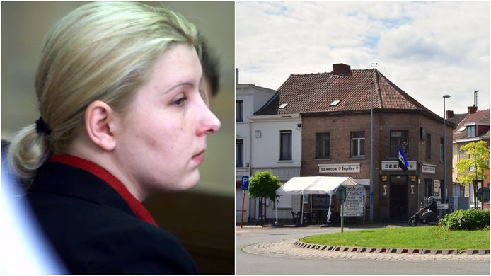 Valérie Cerdan, tijdens het proces. De feiten speelden zich af in café De Kroon, in Menen.
