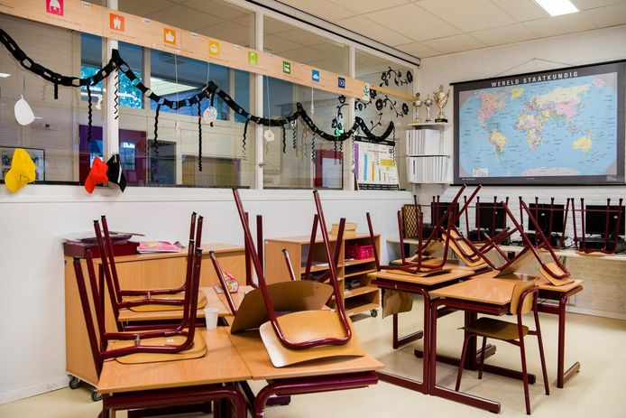 Leeg klaslokaal op een basisschool.