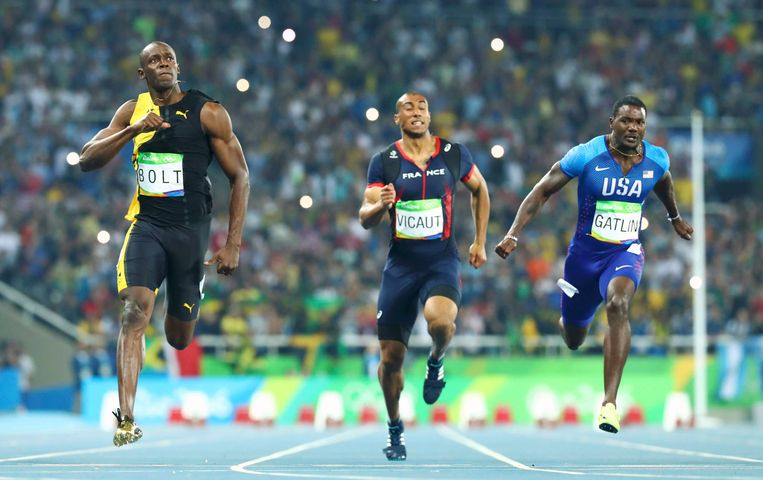 Finishfoto van de 100 meter in Rio. Beeld Photo News