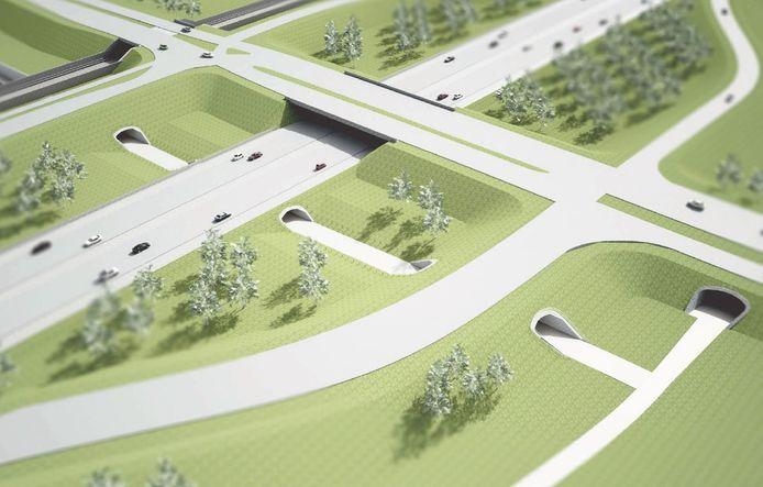 De toekomstige situatie in vogelvlucht. Links bovenin de Betuweroute, in het midden de doorgetrokken A15, met daarnaast het snelfietspad Zevenaar-Elst.