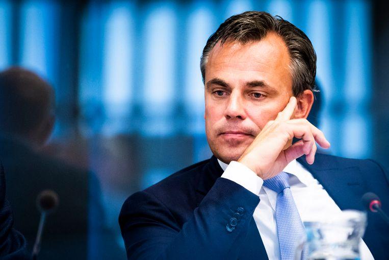 Staatssecretaris Mark Harbers van Justitie en Veiligheid (VVD) tijdens een Algemeen Overleg over Vreemdelingen- en asielbeleid in de Tweede Kamer. Beeld Freek van den Bergh