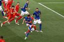 Matteo Pessina maakt in Rome het enige doelpunt van de wedstrijd tussen Italië en Wales: 1-0.