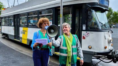 Groen lacht met 'vliegende' minister Lydia Peeters (Open Vld) in actie voor behoud tram 7