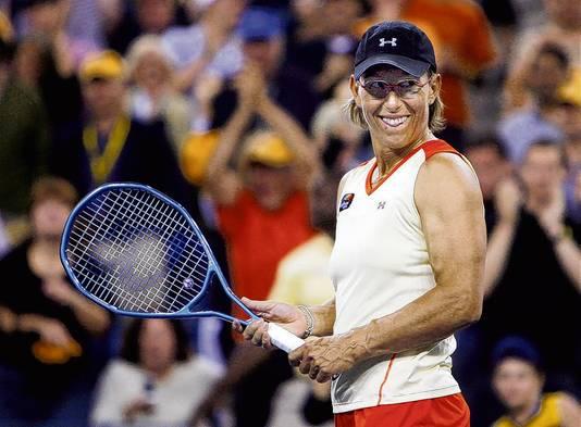 Martina Navrátilová in haar laatste professionele wedstrijd als tennisster.