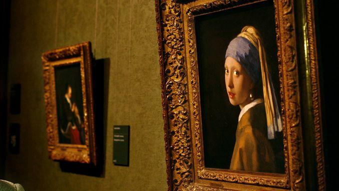 Een aantal schilderijen uit de collectie van het Mauritshuis. © ANP