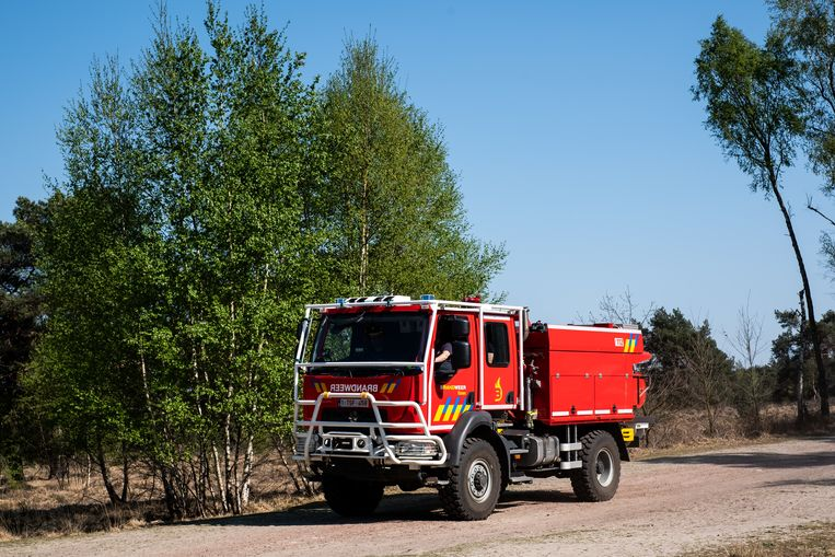 De brandweer is bij code rood permanent aanwezig in de Kalmthoutse Heide. Beeld Wouter Maeckelberghe