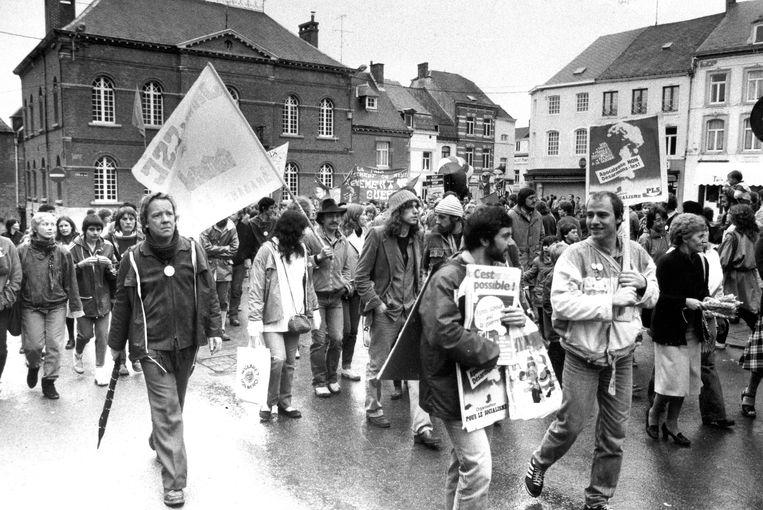 Protest tegen de plaatsing van Amerikaanse kruisraketten in Florennes in 1983. Beeld BELGAIMAGE