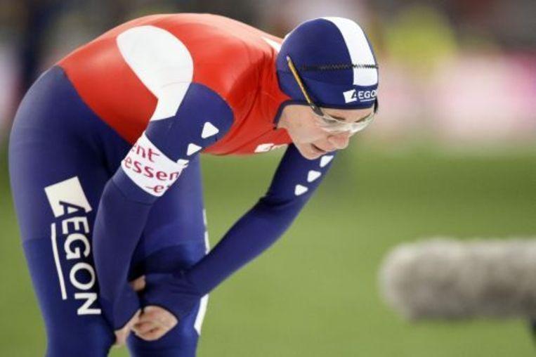 Paulien van Deutekom na afloop van haar 1500 meter zondag tijdens de Europese Kampioenschappen Allroundschaatsen in Hamar. ANP Beeld