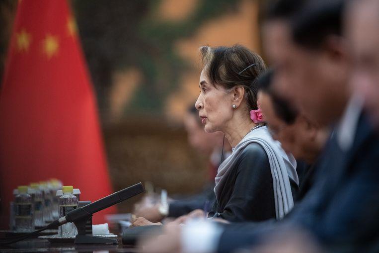 Aung San Suu Kyi bij een bezoek aan China in 2019. Beeld Getty Images