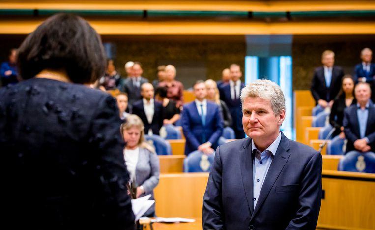 De Groningse PvdA-politicus William Moorlag, vorig jaar bij zijn beëdiging als lid van de Tweede Kamer. Beeld ANP
