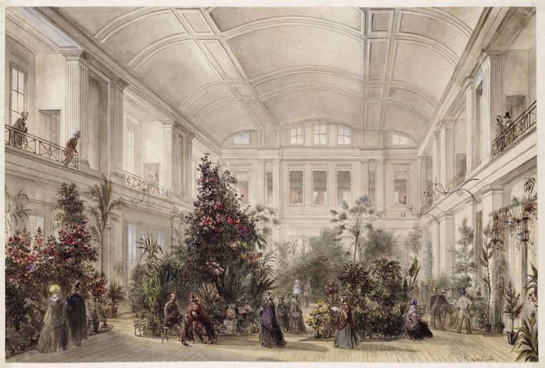 Het interieur van de Parkzaal in de Parktuin aan de Plantage Parklaan, tegenwoordig het Wertheimpark, tijdens een bloemententoonstelling in 1853. Beeld Stadsarchief Amsterdam