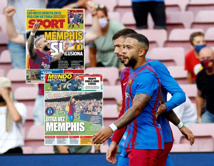 Memphis Depay viert zijn goal met Clément Lenglet.