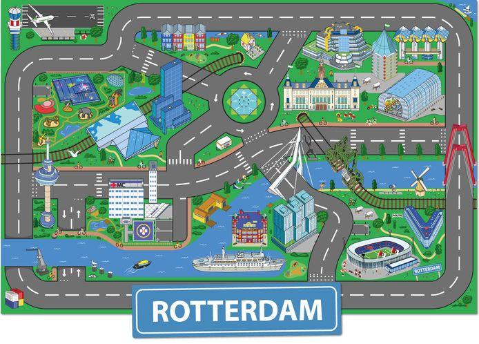 Zo feestelijk ziet Rotterdam eruit op het kleurrijke speelkleed. Leuk voor kleine en grote Rotterdammertjes.