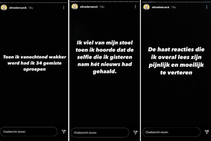 Eline De Munck a réagi en story Instagram