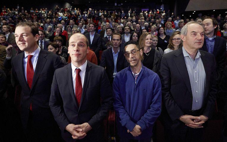 PvdA-congres in februari 2014: toenmalig vicepremier Lodewijk Asscher, PvdA-fractievoorzitter Diederik Samsom, partijbestuurder Fouad Sidali en oud-partijleider Job Cohen. Beeld ANP
