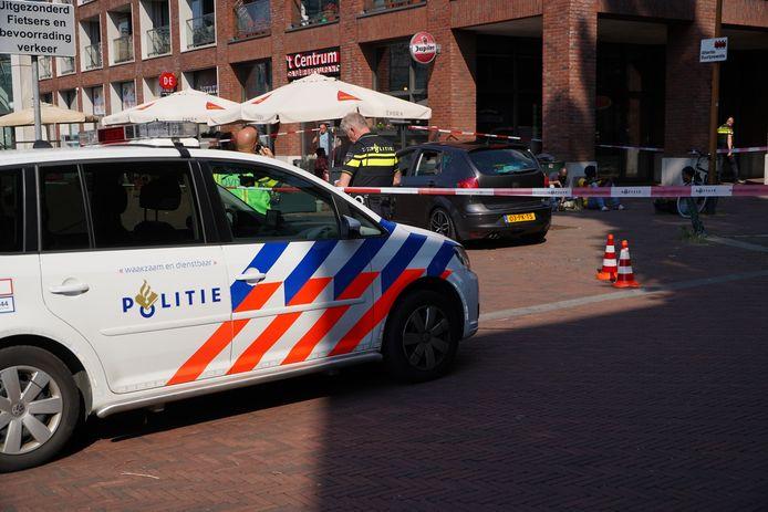 Het Stationsplein in Schiedam, waar op 25 juni van dit jaar vanuit een auto werd geschoten.