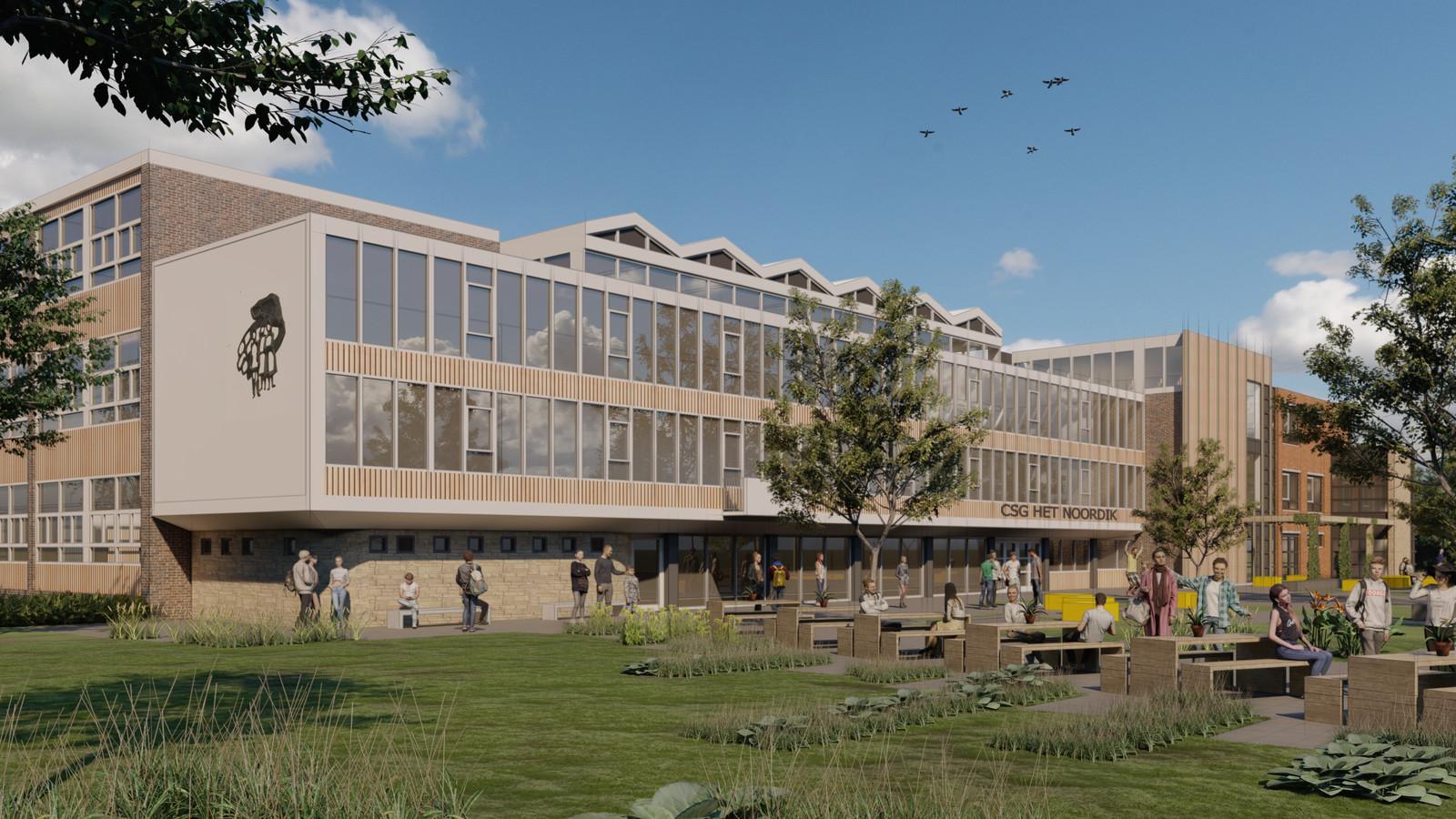 Impressie van het nieuwe plein aan de kant van de Kolthofsingel. De huidige vleugel aan de rechterkant gaat er af.