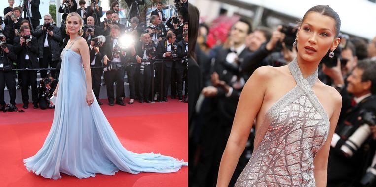 Diane Kruger en Bella Hadid op de rode loper in Cannes.