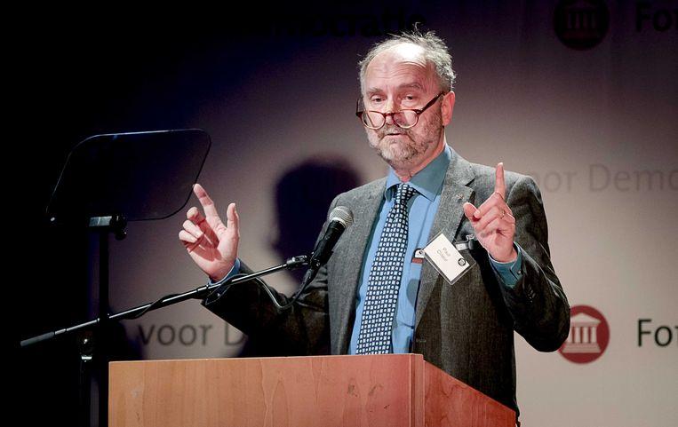 Paul Cliteur spreekt tijdens een partijcongres van partij Forum voor Democratie. Beeld ANP