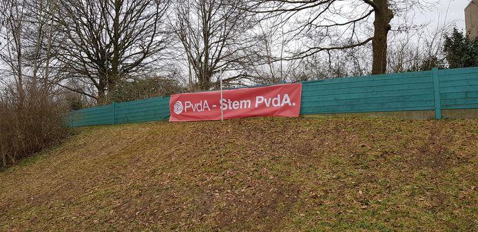Het gestolen spandoek van PvdA Stichtse Vecht.