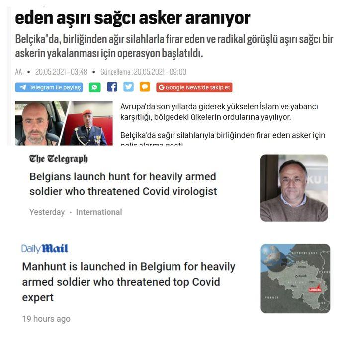 Een artikel op de site van de Turkse krant En Son Haber. Britse kranten waren woensdag bij de eersten om te berichten over de klopjacht.