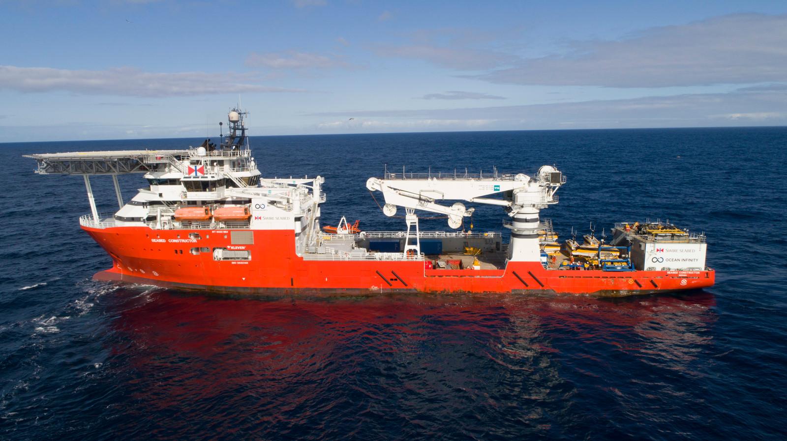 """De """"Seabed Constructor"""" is een schip van Ocean Infinity dat is uitgerust met de meest geavanceerde technologie om naar het verdwenen vliegtuig te zoeken."""