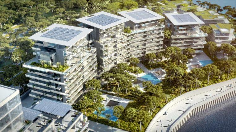 De luxueuze flats zullen 400 vierkante meter groot zijn, de villa's 1.000 vierkante meter. Ze  bieden plaats aan duizend extra inwoners. Beeld Valode & Pistre/Bouygues Construction