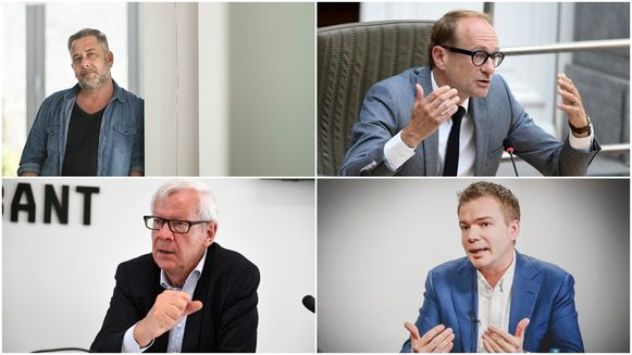 Algemeen directeur Jo Van Vaerenbergh van vzw De Rand, Vlaams minister Ben Weyts (N-VA). Onder: gouverneur Lodewijk De Witte en Vlaams Belang-parlementslid Klaas Slootmans.