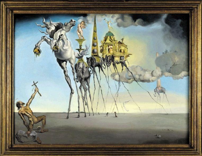 Salvador Dali: ¿De verzoeking van Sint Antonius¿ (1946). Mieke Boon: ¿Je kunt die raar gedraaide druipende hoeven nu bijna niet anders zien dan als een symbool van de anus.¿ (FOTO G. B. L. LEFEVRE, KONINKLIJKE MUSEA VOOR SCHONE KUNSTEN VAN BELGIÿ, BRUSSEL) Beeld