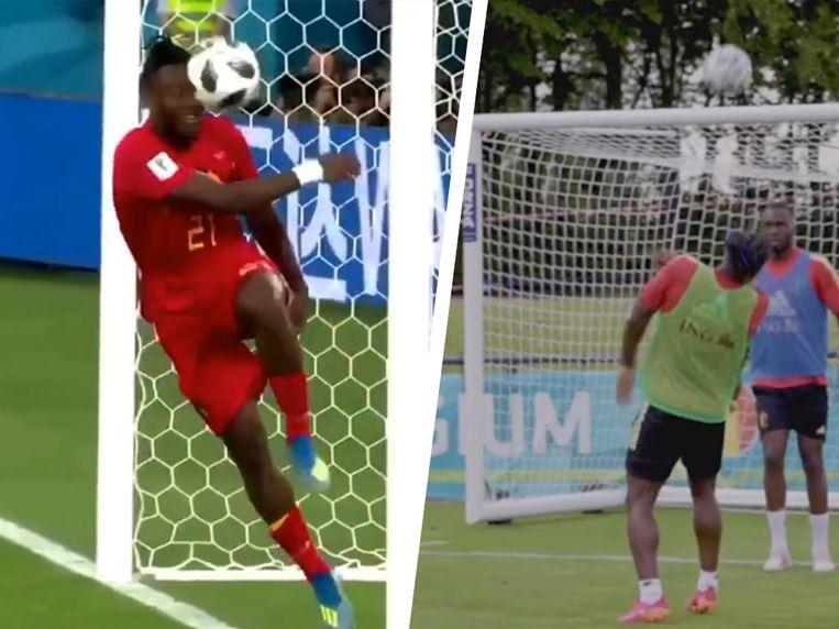 Links: Batshuayi die de bal via de paal tegen zichzelf trapt in 2018. Rechts: Batshuayi die de bal in het gezicht krijgt op training Beeld Instagram